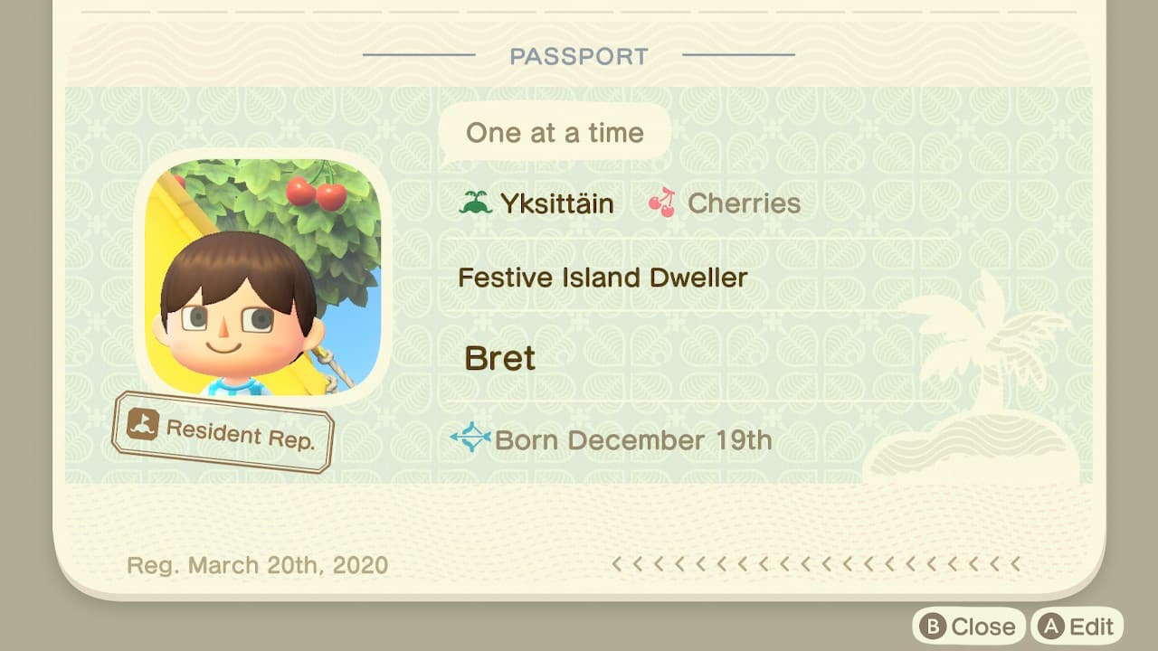 Bret's Animal Crossing: New Horizons Passport